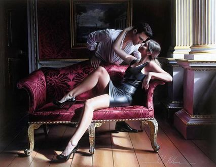 Фото Девушка сидит на диване и к ней наклонился парень, художник Rob Hefferan