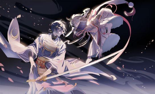 Фото Mikazuki Munechika / Миказуки Мунэчика сражается с противником на фоне неба из игры Touken Ranbu / Танец мечей (© Romi), добавлено: 19.03.2017 09:14