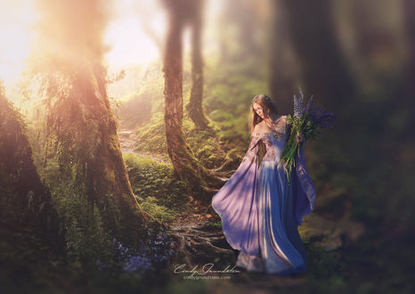 Фото Девушка с букетом лаванды в лесу by CindysArt on DeviantArt