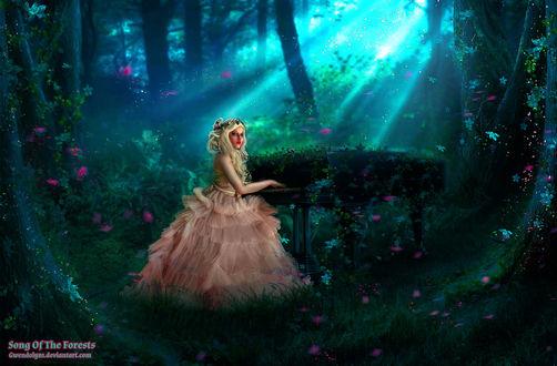 Фото Девушка в пышном платье сидит за роялем в лесу, by Gwendolyn1