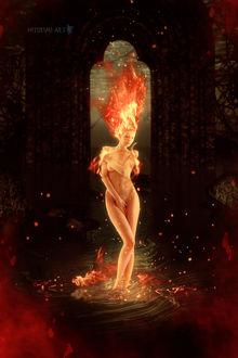 Фото Обнаженная девушка с горящими волосами стоит в огне, художник Hitori Mi