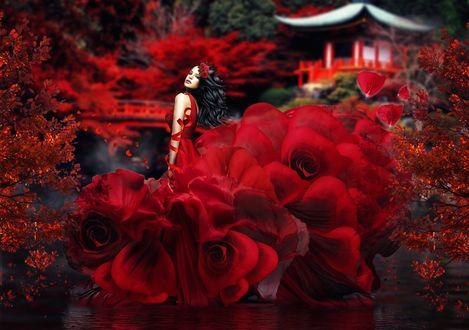 Фото Девушка в платье из красных цветов, by Dmitry Senichkin