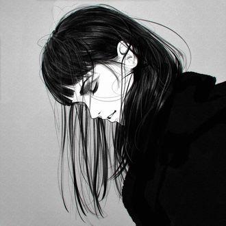 Фото Девушка с опущенной головой, by Kuvshinov Ilya
