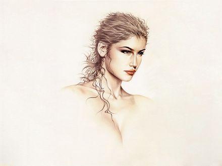 Фото Девушка с красивым необычным лицом