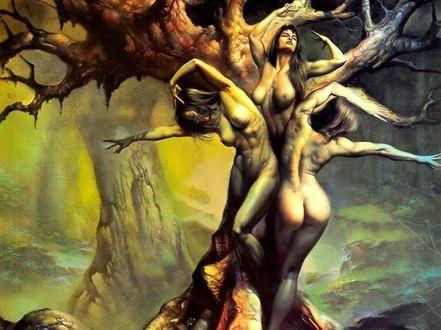 Фото Три обнаженных девушки в образе дерева, американский художник Boris Vallejo