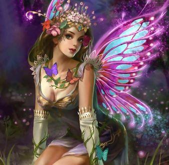 Фото Девушка - мотылек в цветах и с бабочками (© Margo Fly), добавлено: 19.03.2017 19:07