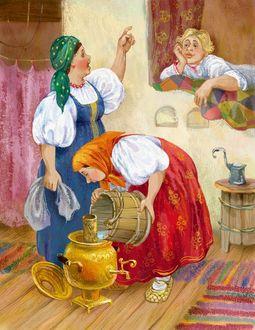 Фото В избе женщина общается с парнем на печи, другая наливает воду в самовар (иллюстратор Александр Лебедев) (© a_m_i_na), добавлено: 19.03.2017 19:22