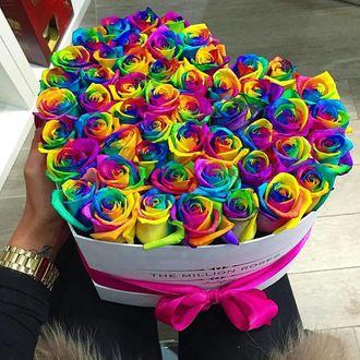 Фото Рука держит букет радужных роз в форме сердца (© a_m_i_na), добавлено: 19.03.2017 19:33