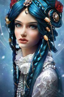 Фото Портрет девушки с голубыми глазами и голубыми волосами с украшениями и цветами на волосах