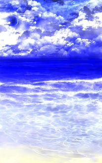 Фото Облачное небо с планетой над морем, by saya