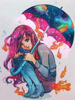 Фото Девушка под зонтиком с рыбками, by Qinni (© zmeiy), добавлено: 20.03.2017 13:43