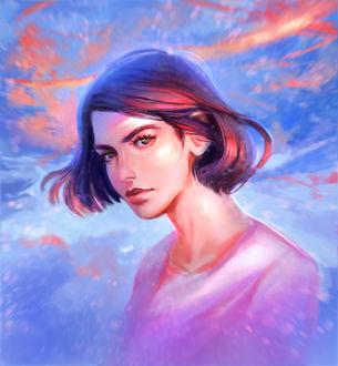 Фото Девушка с короткими волосами на фоне неба, by DziKawa (© Arinka jini), добавлено: 20.03.2017 14:34