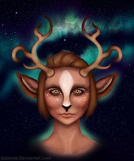 Фото Девушка со светящимися глазами, с ушками и рогами в образе оленя, на фоне звездного неба с северным сиянием, by Sabinzie (© Margo Fly), добавлено: 20.03.2017 15:56