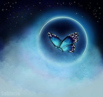 Фото Голубая бабочка в шаре на фоне звездного неба, by Sabinzie (© Margo Fly), добавлено: 20.03.2017 16:10