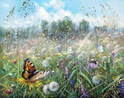 Фото Бабочки и шмель на цветах на фоне природы и неба. Художник Александр Желонкин