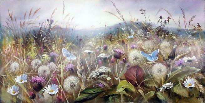 Фото Голубые бабочки порхающие над цветами на фоне горного пейзажа в тумане. Художник Александр Желонкин (© Margo Fly), добавлено: 20.03.2017 18:44