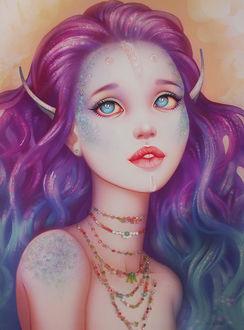 Фото Эльфийка с сиренево-голубыми волосами в ожерелье, by Ellrano