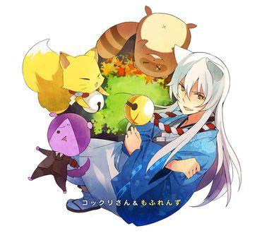 Фото Inugami, Shigaraki и Kokkuri-san / Коккури-сан, из аниме Gugure! Kokkuri-san / Загугли это, Коккури-сан, art by Miwa Ooshima