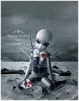 Фото Кукла с большими глазами, без волос с конвертом, с сердечками сидит в воде, by Malgorzata Scimborska