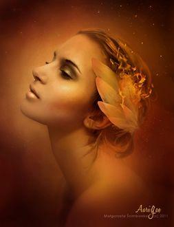 Фото Портрет девушки с перьями в огне на волосах, by Malgorzata Scimborska