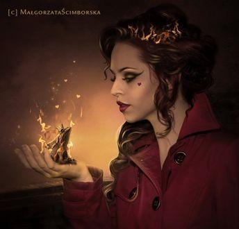 Фото Девушка в красном держит на руке лягушку в огне, by Malgorzata Scimborska