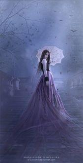 Фото Девушка в длинном платье с зонтом стоит на ступенях лестницы, by Malgorzata Scimborska