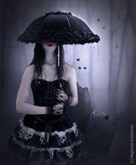 Фото Девушка с зонтом в патье с черепами в окружении бабочек, by Malgorzata Scimborska