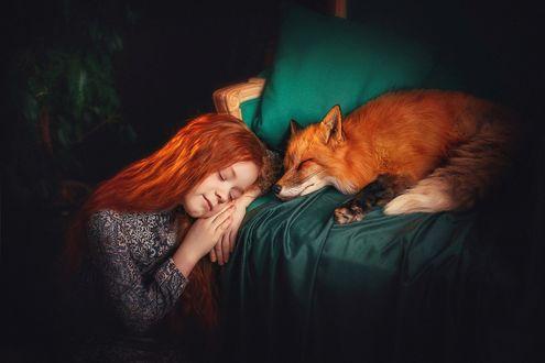 Фото Спящие рыжеволосая девочка и лиса в кресле. Фотограф Лилия Ульянова