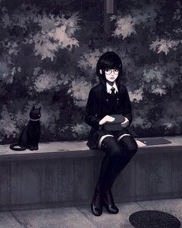 Фото Девушка в очках сидит рядом с черной кошкой, by GUWEIZ