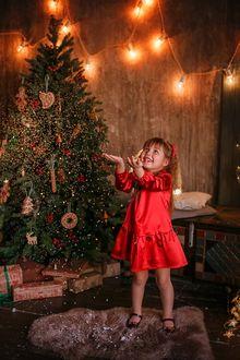 Фото Улыбающаяся девочка в красном платье стоит на меховом коврике у новогодней елки. Фотограф Лилия Ульянова