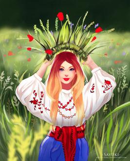Девушка одевает себе на голову корону из цветов, by Sayuki-hime