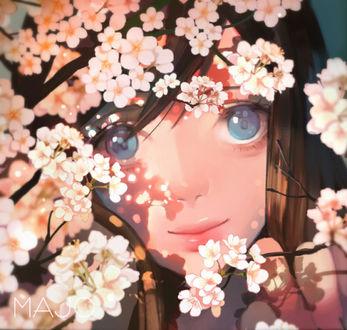Фото Голубоглазая девушка стоит возле цветущих веток, by Majo