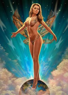 Фото Обнаженная девушка стоит на планете, на фоне звезд в небе и облаков, by Jeff Wack