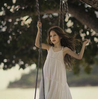 Фото Девочка на качелях, привязанных к дереву, by DesiArt Kuleshova