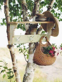 Фото На столы березы прибита полка с крючками, на которой лежат камни и висят шляпка с корзиной цветов