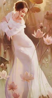 Фото Девушка в белом длинном платье в окружении цветов, фотохудожник Светлана Валуева