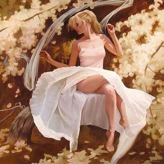 Фото Девушка в белом платье у цветущего дерева. Фотохудожник Светлана Валуева