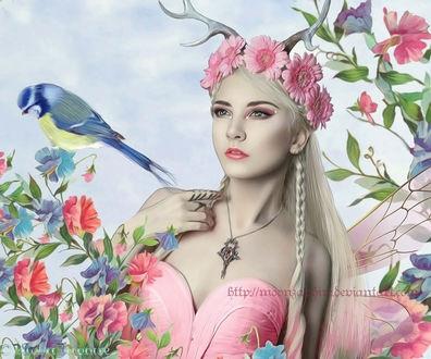 Фото Девушка в венке из цветов, с крыльями бабочки и с рожками, рядом на цветке сидит птица, by KatZaphire