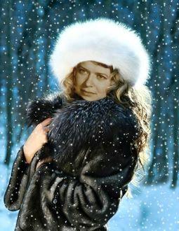 Фото Девушка и снегопад