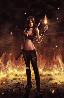 Фото Рыжеволосая девушка с огнем, by AlanVadell