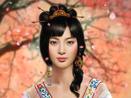 Фото Темноволосая девушка японка с украшениями на размытом фоне с летающими лепестками цветов