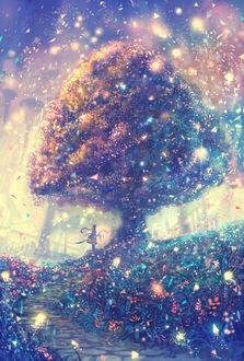 Фото Девушка с посохом в руке стоит под деревом, by bounin