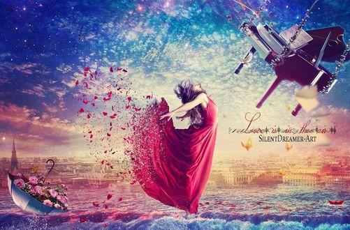 Фото Девушка в красном, разлетающемся платье, стоит на воде перед парящим в небе роялем и сзади на нее зонтиком с цветами, by SilentDreamer-Art