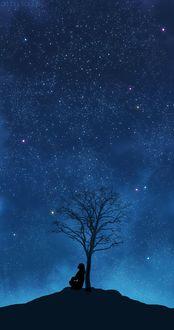 Фото Девушка сидит под деревом на фоне ночного звездного неба, by Sayuki-hime