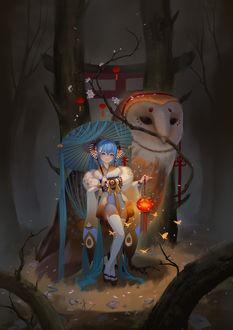 Фото Девушка с зонтиком и со светящимся фонарем стоит рядом с огромной совой, у которой в клюве цветущая весенняя веточка, by LY 炼妖