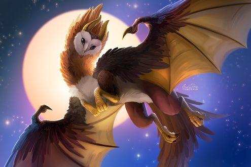 Фото Фантастическое животное-гибрид совы и дракона в ночном небе