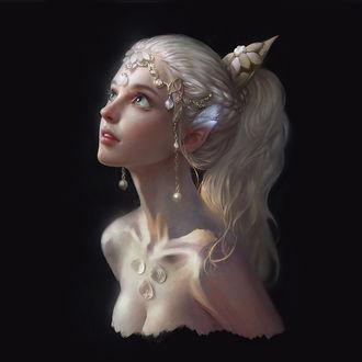 Фото Портрет девушки-эльфа на черном фоне, by Qi Wu