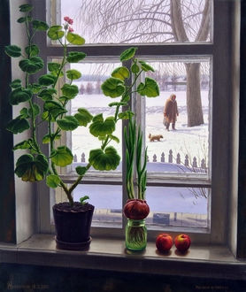 Фото Рисунок окна, на подоконнике стоят герань, банка с луком и яблоки (художник Зирюков А.)