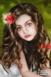 Фото Портрет милой девочки с розой, перьями и бантиком на волосах, by Margarita Kobzareva