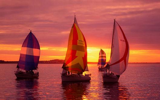 Фото Закат на море, на спокойных водах покачиваются тихо четыре парусника